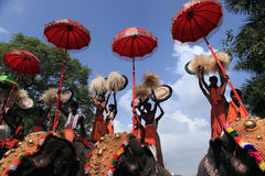 Thrissur Pooram. Is called 'the pooram of all poorams' (festival). It is the biggest of all poorams held in Kerala state, India.The , is celebrated every year Stock Images