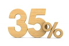 Thrity five percent on white background. Isolated 3D illustratio. N stock illustration