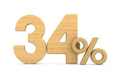 Thrity four percent on white background. Isolated 3D illustratio. N royalty free illustration