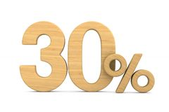 Thrity percent on white background. Isolated 3D illustration.  stock illustration