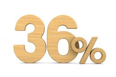 Thrity six percent on white background. Isolated 3D illustration.  royalty free illustration