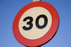 Thrity Speed Limit Sign. Thrity traffic speed limit sign on blue sky background Royalty Free Stock Photography