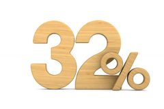 Thrity two percent on white background. Isolated 3D illustration.  stock illustration