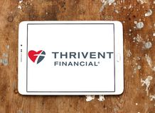 Thrivent Financial organization logo. Logo of Thrivent Financial organization on samsung tablet. the company offer financial products and services including life Stock Photos