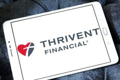 Thrivent Financial organization logo. Logo of Thrivent Financial organization on samsung tablet. the company offer financial products and services including life Royalty Free Stock Images