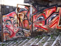 Thriving urban graffiti and street art scene in Lisbon, Portugal, 2014. Since the mid-2010s, Lisbon is experiencing a burgeoning urban art scene, of which the Royalty Free Stock Photos
