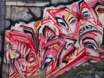 Thriving urban graffiti and street art scene in Lisbon, Portugal, 2014. Since the mid-2010s, Lisbon is experiencing a burgeoning urban art scene, of which the Royalty Free Stock Photo