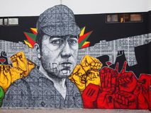 Thriving urban graffiti and street art scene in Lisbon, Portugal, 2014. Since the mid-2010s, Lisbon is experiencing a burgeoning urban art scene, of which the Royalty Free Stock Photography