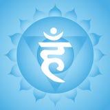 Throat chakra. Vishuddha throat chakra symbol on blue background Stock Images