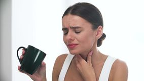 Throat Disease. Woman Feeling Strong Throat Pain After Drinking