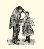 Throat examination, vintage engraving. Doctor examining the throat of a little patient girl Stock Images