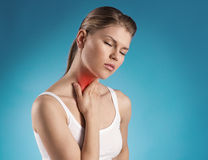 Throat pain. Angina virus. Young woman having throat pain Royalty Free Stock Images