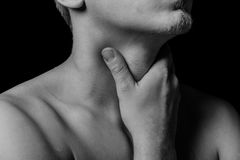 Throat pain, close-up royalty free stock photos
