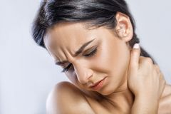 Throat Pain. Closeup Of Sick Woman With Sore Throat Feeling Bad,. Suffering From Painful Swallowing. Beautiful Girl Touching Neck With Hand. Illness, Health Royalty Free Stock Photos