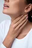 Throat Pain. Closeup Woman With Sore Throat, Painful Feeling Stock Photos