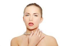 Throat pain concept. Royalty Free Stock Image