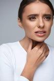 Throat Pain. Ill Woman Having Sore Throat, Painful Feeling Royalty Free Stock Photo