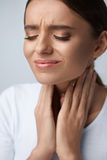 Throat Pain. Ill Woman Having Sore Throat, Painful Feeling. Throat Pain. Ill Woman With Sore Throat Feeling Bad, Suffering From Painful Swallowing, Strong Pain Royalty Free Stock Image