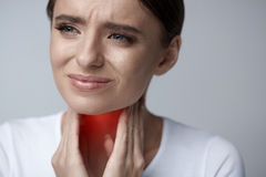 Throat Pain. Ill Woman Having Sore Throat, Painful Feeling Stock Photos