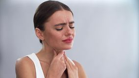 Throat Pain. Woman Feeling Strong Throat Ache
