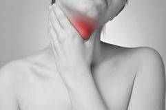 Throat pain stock photos