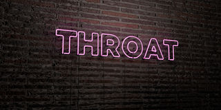THROAT -Realistic Neon Sign on Brick Wall background - 3D rendered royalty free stock image Stock Photography