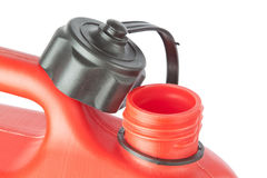 Throat red jerry cans for of fuel. On a white background Royalty Free Stock Photography