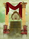 Throne. In the sky with  curtain Stock Photos