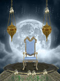 Throne. In the sky with big moon vector illustration