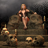 Throne of death. 3D Rendering woman sitting on the throne of death Royalty Free Stock Photo