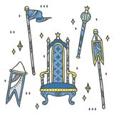Set of throne, flags and sceptre - kingdom element set. Throne, flags and sceptre. Perfect for fairy tale design, backgrounds, decoration invitation,. kids party Stock Photography