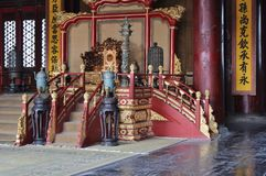 The throne in the Hall of Harmony conservation - The Forbidden City Royalty Free Stock Image