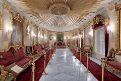 Throne Hall at Manial Palace of Prince Mohammed Ali Tewfik with ornate ceiling inspired by the old flag of the ottoman empire Stock Photos