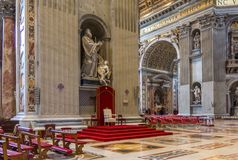 Throne inside Basilica of St. Peter, Vatican. City Stock Images