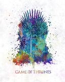 Throne with the king in watercolor art. Colorful vector illustration