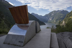 Throne of Queen Sonja, Geiranger. The Bench of Queen Sonja with view on Geiranger and the Ornevegen - Eagle Road. It has been placed here in honour of Queen Stock Photos