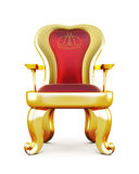 Throne with red velvet upholstery. Stock Photos