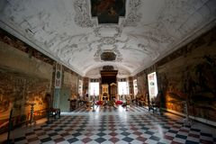 Throne Room of the Rosenborg Castle. Large throne room with decorations at the Rosenborg Castle Stock Photos