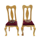 Thrones of the King and Queen. With velvet seats and royal crowns - path included stock photo