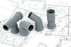 Throom renovation, pvc fittings for drainage Stock Photo