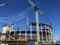 Constructing the new home for the San Francisco Golden Gate Warriors basketball team, 4. Throughout the ages, constructing a sports arena has always been a Royalty Free Stock Photos