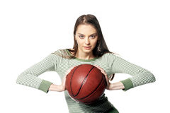Throw. Girl with ball in hands Royalty Free Stock Images