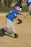 The throw. Young baseball player throwing baseball in game Stock Photography