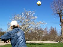 Throw ball 3. Any young boy, throwing up the ball Royalty Free Stock Photo