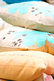 Throw cushions. Throw cushion in beautiful colors and pattern stock images