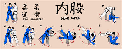 Throw de colheita da coxa interna do judo Foto de Stock