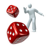 Throw the dice. Person throwing a pair of a red dice isolated on white background Royalty Free Stock Image