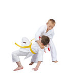 Throw judo in perfoming  the athlete with a red belt Stock Photo