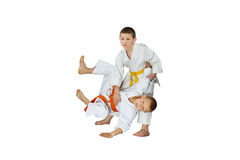 Throw Judo performs athlete with yellow belt Stock Photography