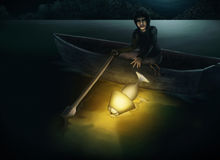 Throw The Lamp Into The Lake At Night. Surreal digital painting of a man in a rowboat discarding an illuminated lamp into a dark lake at night Royalty Free Stock Photography